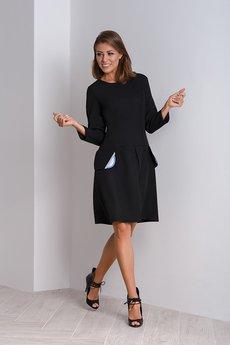 Duhla Agnieszka Barańska - Czarna sukienka do biura z kontrafałdą NUBI