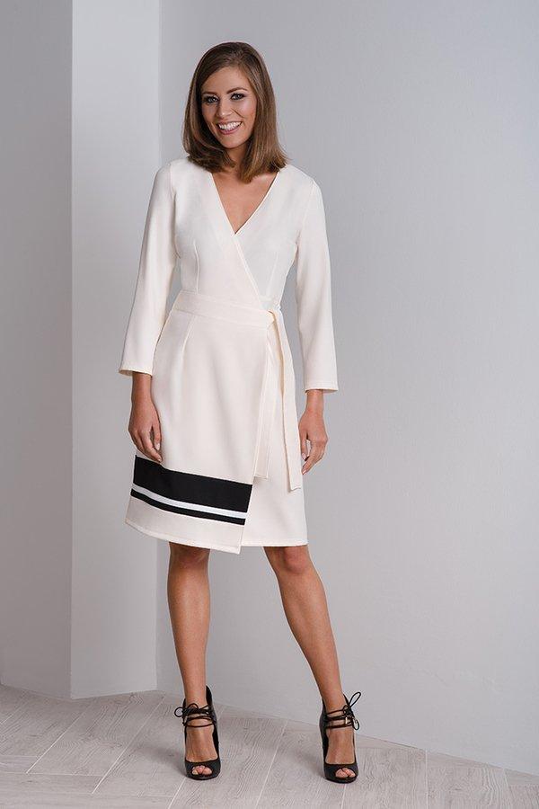 d5461152e6 Kremowa Sukienka Kopertowa – Sukienka Wizytowa Cala - Beżowy