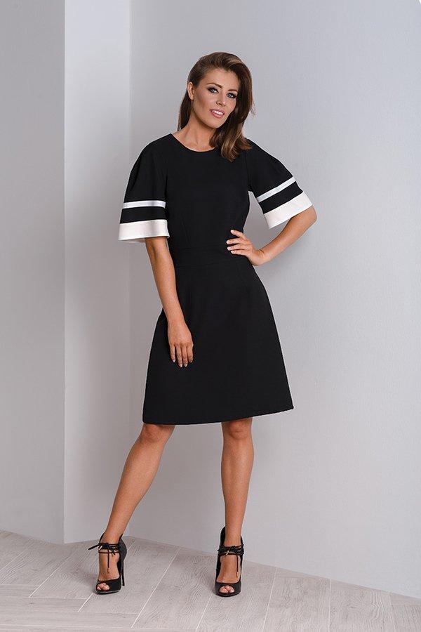 d806160ffd Elegancka Czarna Sukienka Wizytowa Z Bufiastymi Rękawami Maya - Czarny