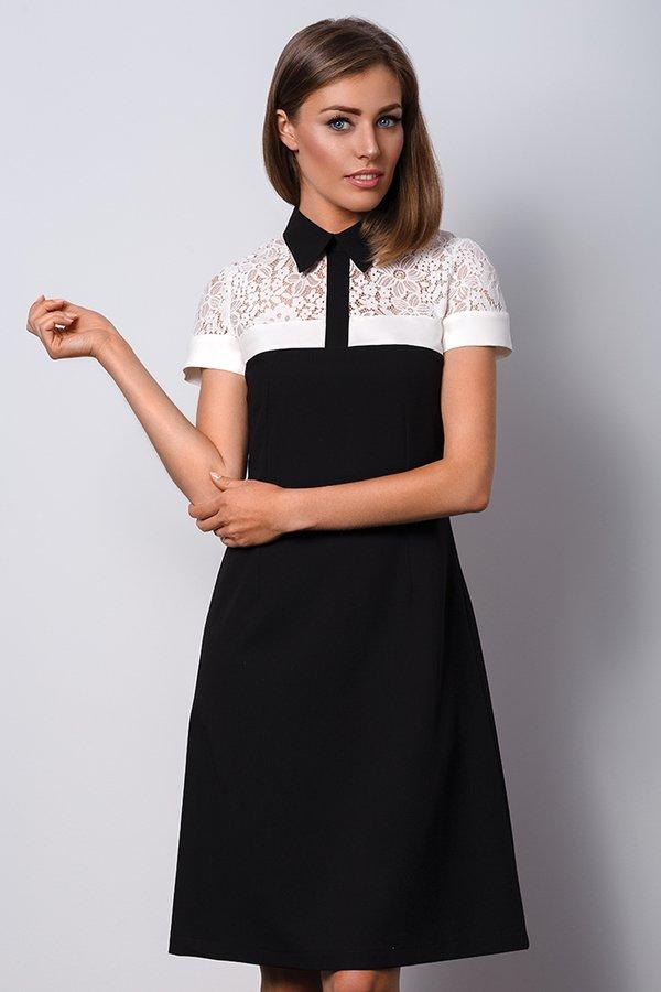 94eafb6fb5 Elegancka Czarna Sukienka Z Kołnierzykiem Polo Ii - Czarny