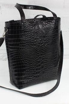 FABIOLA - Skórzana Shopper Verona czarny krokodyl