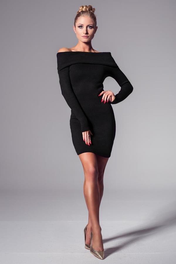 052c837bd4 Dopasowana Sukienka Z Lekko Odkrytymi Ramionami – Kolor Czarny - Czarny