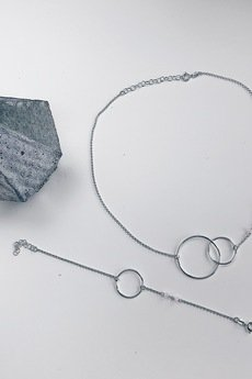 ATdiament - Srebrna pozłacana bransoletka koło duże