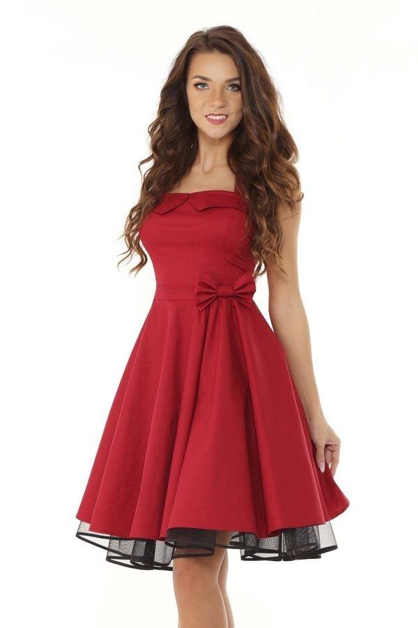 35086a37 Sukienka Rozkloszowana Pin Up Ed01-1 - Bordowy | Ella Dora ...