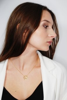 ATdiament - Srebrny pozłacany naszyjnik z kwiatem lotosu
