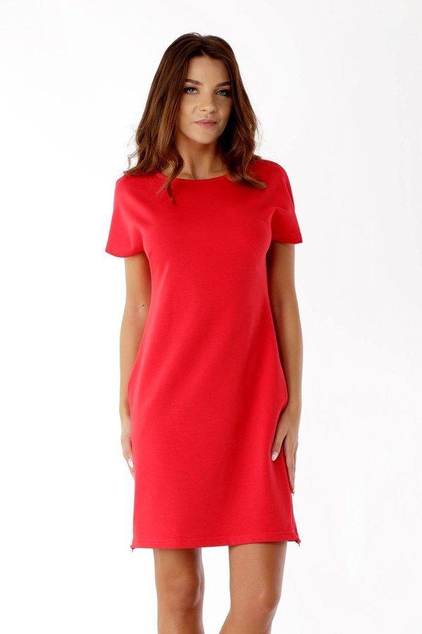 41abafa8b4 Sukienka Dresowa Z Zamkami Czerwona Ed04-1 - Czerwony