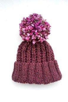 MIW Collection - Czapka fioletowa z kolorowym pomponem