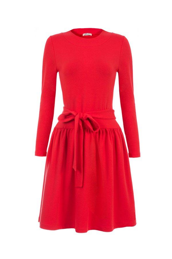 769367ad89 Czarwona Sukienka Z Kokardą W Talii - Czerwony