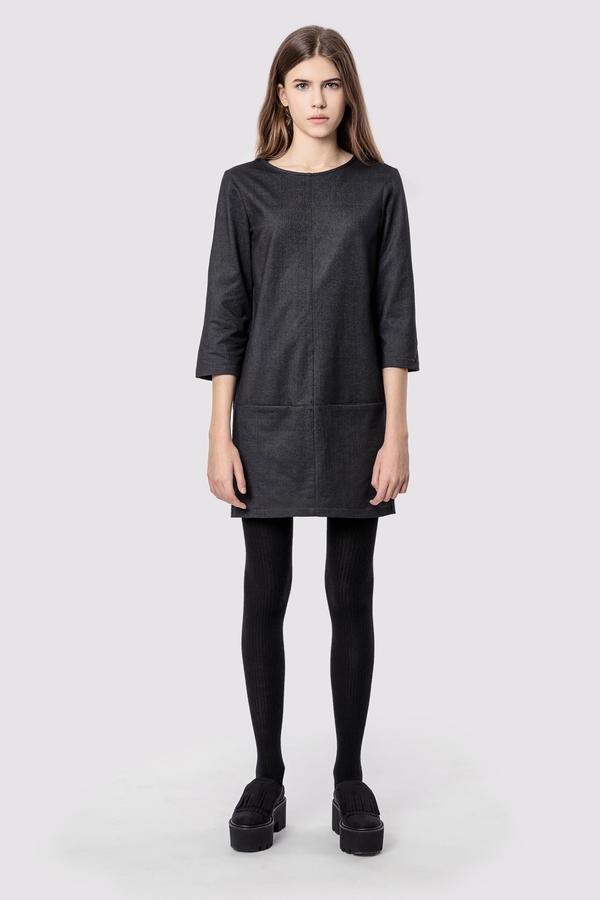 03df564023 Sukienka Bawełniana Z Kieszeniami Basic Smart Grey Denim - Szary ...