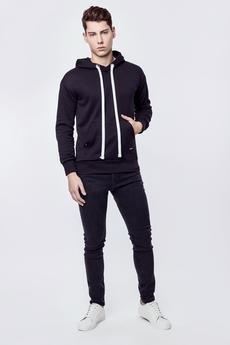 MALE-ME - Bluza bawełniana z kapturem Basic Black