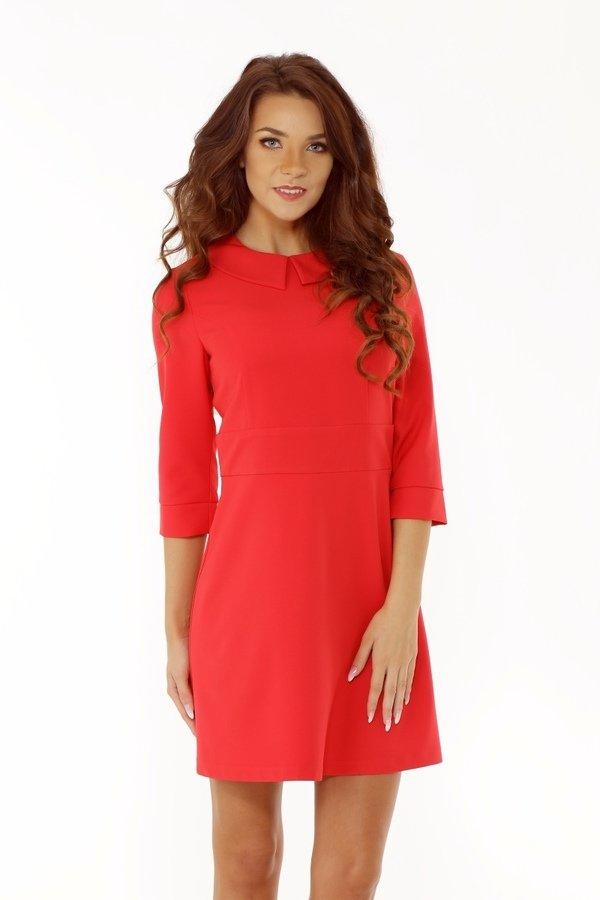 bc57f9cf58 Elegancka Sukienka Z Kołnierzykiem Czerwona Ed010-1 - Czerwony ...