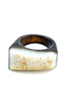 Brazi Druse Jewelry - InspiRING Low Czarno-Szary rozmiar 21