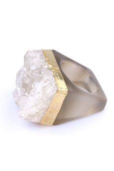 Brazi Druse Jewelry - InspiRING 1/4 Gold Kryształ Górski