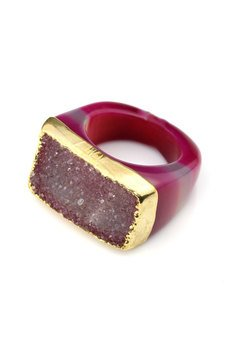 Brazi Druse Jewelry - InspiRING 1/4 Gold Fuksja rozmiar 18
