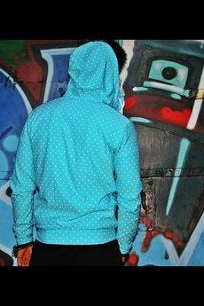 Bluza button hoodie dots unisex mietowa