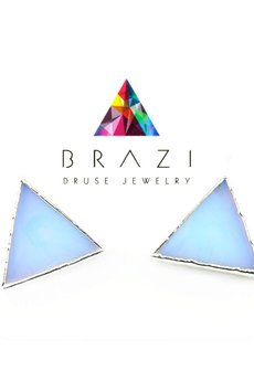 Brazi Druse Jewelry - Earrings Opalit trójkąty srebro