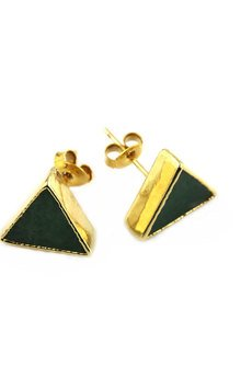 Earrings kwarc zielony zloto trojkat