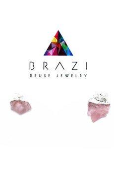Earrings raw kwarc rozowy srebro
