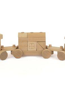 Tarnawa Toys - Pociąg z klocków naturalny mini