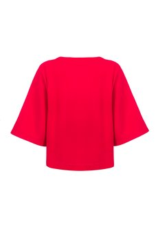 Czerwona bluza damska nietoperz ze srebrnymi kuleczkami