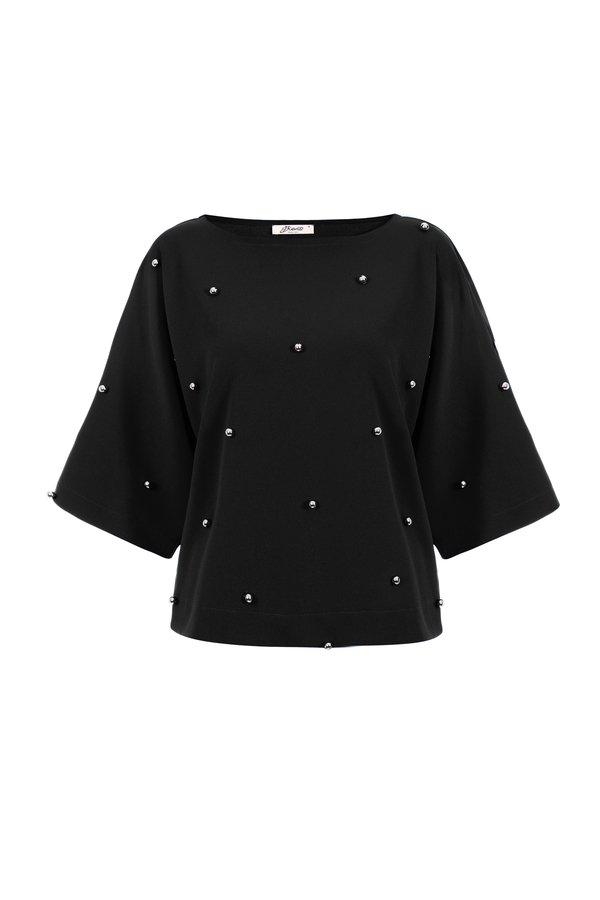 49bf15609ee25 Czarna Luźna Bluzka Damska Kimono Ze Srebrnymi Kuleczkami - Czarny | Bien  Fashion | Bluzki Damskie | Mustache.pl