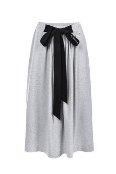 Bien Fashion - SZARA SPÓDNICA MAXI Z KOKARDĄ W PASIE