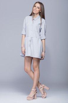 HARMONY  - Luźna sukienka z asymetrycznym dołem szara  H005