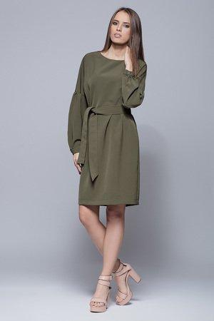 Sukienka wiązana w pasie-oliwka.H028