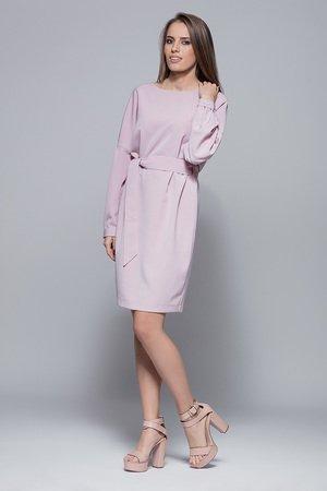 Sukienka wiązana w pasie-róż.H028