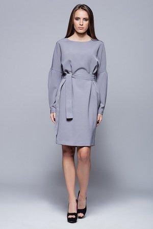 Sukienka wiązana w pasie. szara H028