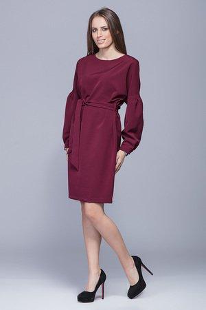 Sukienka wiązana w pasie-bordo.H028