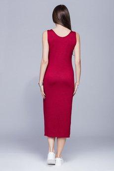 HARMONY - Dopasowana sukienka-bordo.H026