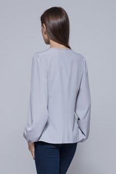 HARMONY - Zwiewna bluzka z asymetrycznym przodem szara H017