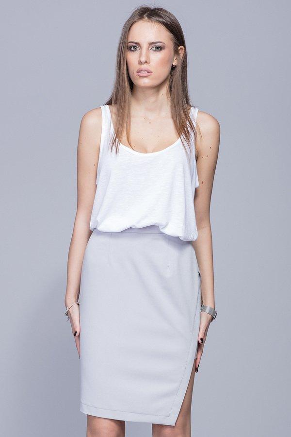 Asymetryczna Elegancka Spódnica Szara H018 Czarny