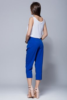 HARMONY - Eleganckie spodnie ¾. niebieskie  H019