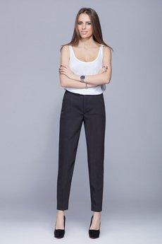 HARMONY - Eleganckie długie spodnie czarne  H022