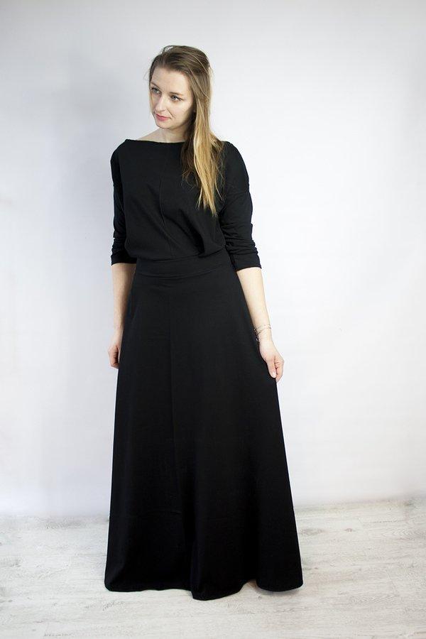 8abd35a7ab Sukienka Długa Dzianinowa Eser Czarna - Czarny