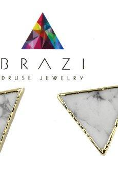 Brazi Druse Jewelry - Earrings Howlit złoto