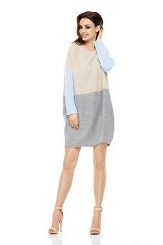 Lemoniade - LEMONIADE  Długi trójkolorowy sweter LS203