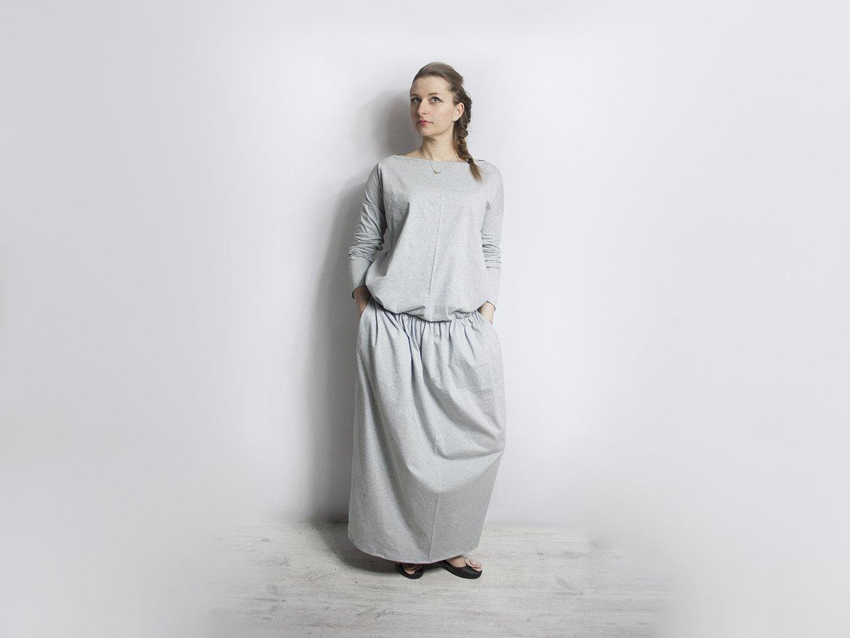 573df2596e Bahar Sukienka Dresowa Dzianinowa Popiel - Czarny