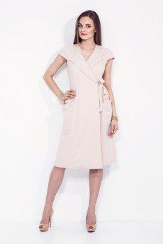 Kopertowa sukienka z wiazaniem w talii