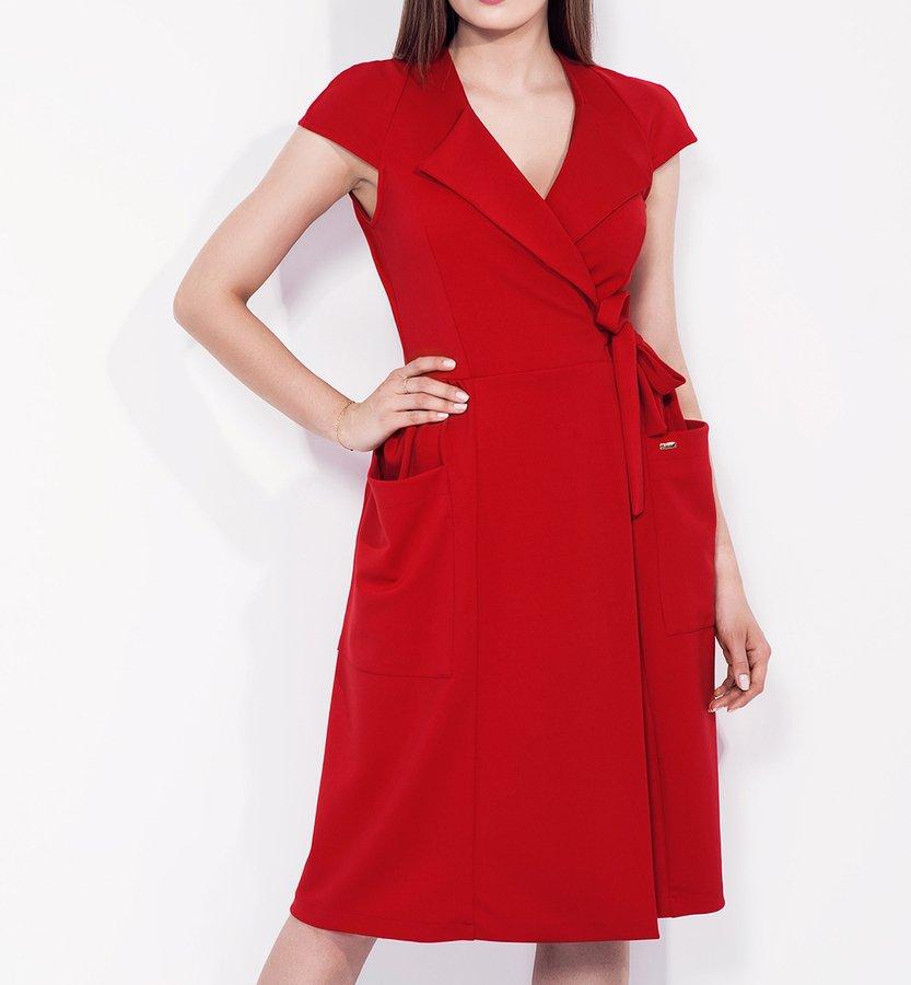 4c4fe7551b8929 Czerwona Kopertowa Sukienka Z Wiązaniem W Talii - Czerwony | Bien Fashion | Sukienki  Damskie | Mustache.pl