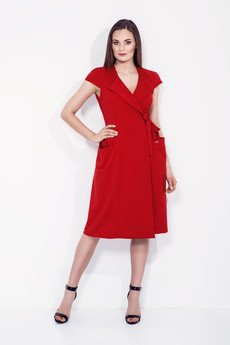 Bien Fashion - CZERWONA KOPERTOWA SUKIENKA Z WIĄZANIEM W TALII