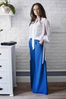 Bien Fashion - MATERIAŁOWE SPODNIE DAMSKIE Z SZEROKIMI NOGAWKAMI