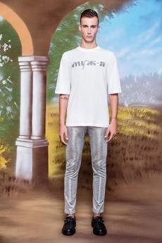 MALE-ME - Spodnie ze srebrnejprążkowanej dzianiny