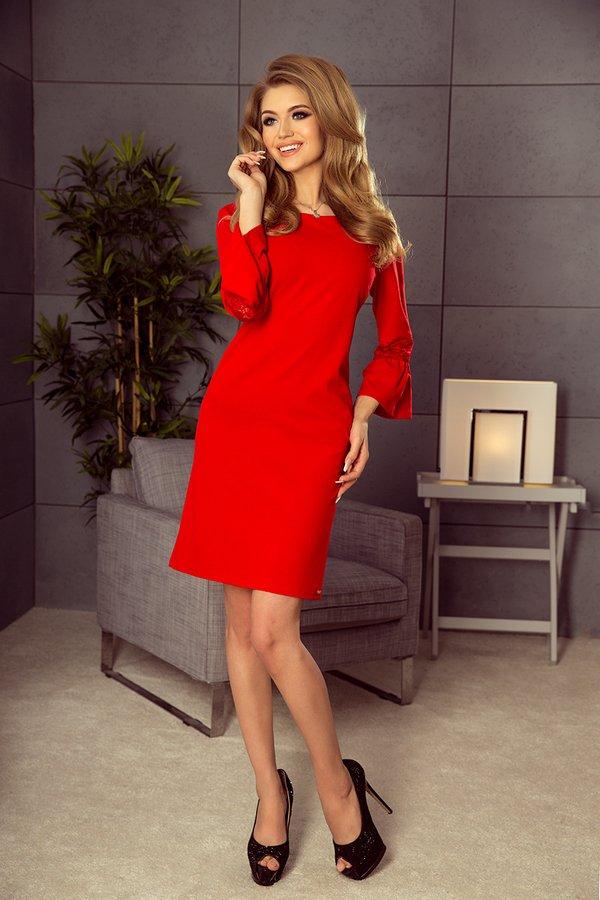 0a8fcc9682 Sukienka Marry Rozkloszowane Rękawy Wesele Czerwona - Czerwony ...