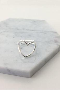 ATdiament - Srebrny pozłacany pierścionek serce regulowany
