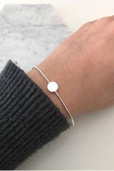 ATdiament - Srebrna pozłacana bransoletka sztywna z kółeczkiem