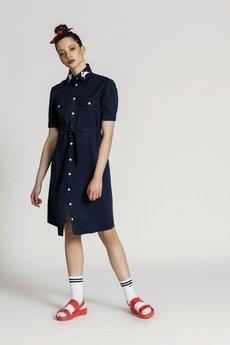 RabbitRabbit! - Granatowa sukienka koszulowa SIMONE