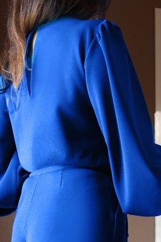 Bien Fashion - Niebieski kombinezon damski z szerokimi nogawkami
